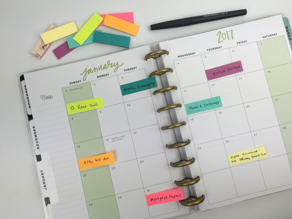 sticky note planning planners post it note bill pay monthly spread ideas inspiration tips reminder payment schedule happy planner organization don't forget