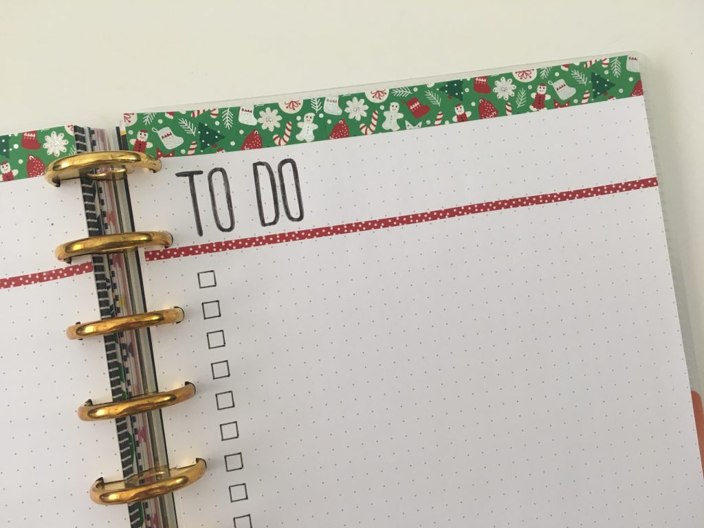 to do list bullet journal simple washi tape decorating ideas minimalist red and green christmas theme