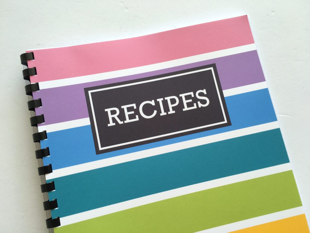 DIY recipe book cover recipe organization recipe sheet recipe card how to organize recipes notebook album cookbook rainbow free printable-min