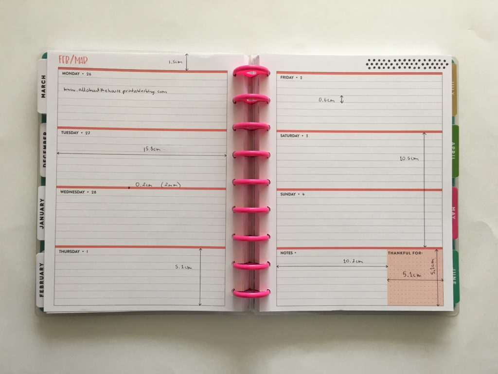 Happy Planner classic size horizontal weekly spread