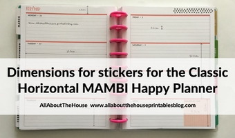 MAMBI Happy Planner horizontal dimensions & measurements (classic size) for making planner stickers