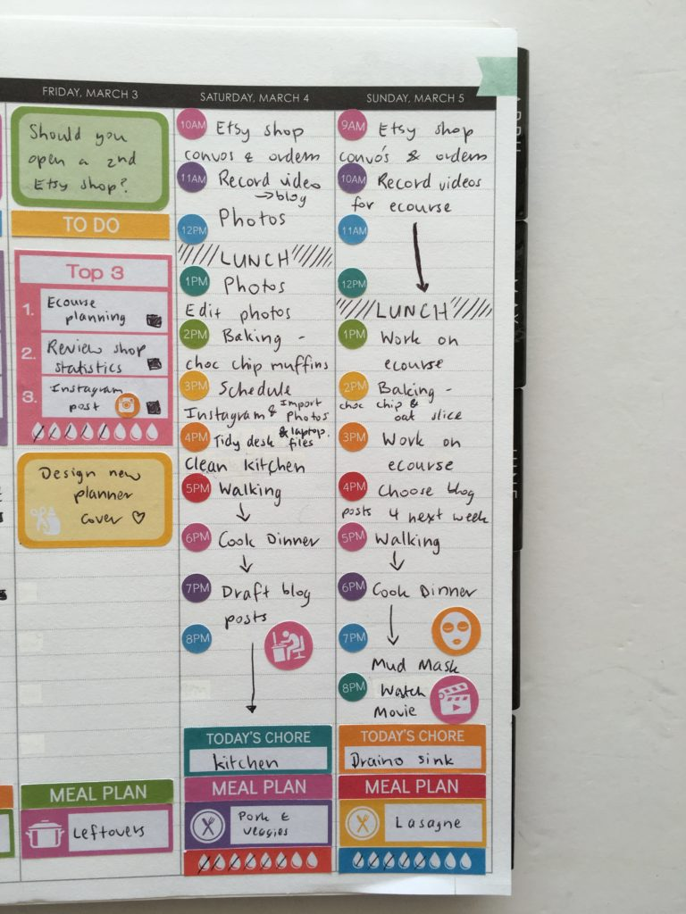 erin condren hourly life planner review rainbow color coded weekly planner spread optomise your planner use effectively productivity weekend-min
