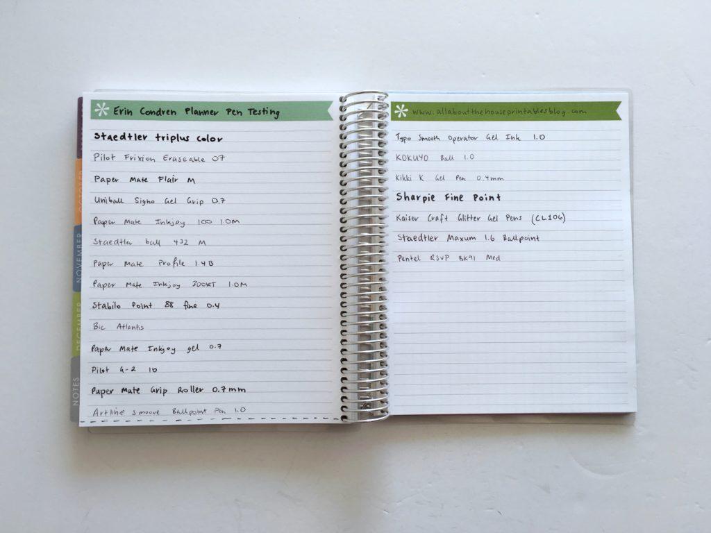erin condren pen testing best no bleed ghosting planner pens review favorite planner pens supplies gel pens ballpoint