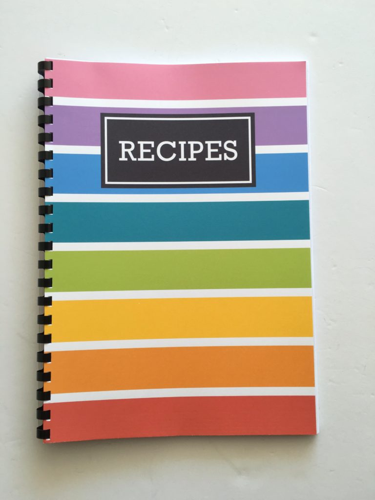 free printable recipe sheet card page recipe book cover DIY recipe organization recipe sheet recipe card how to organize recipes notebook album cookbook rainbow free printable
