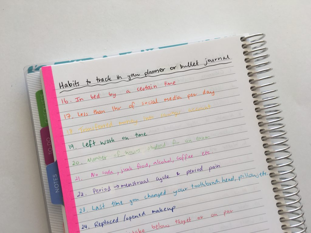 habit tracking ideas bullet journalling planner spread diy planner layout routine tasks color coding inspiration weekly planner