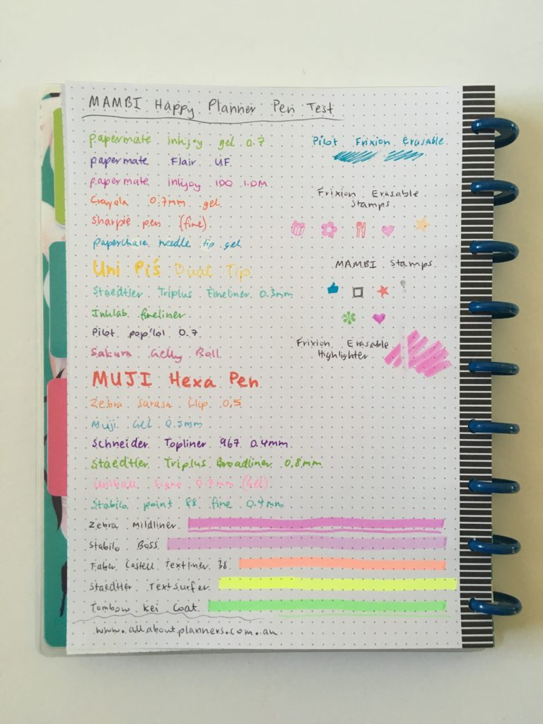 happy planner pen testing mambi happy notes dot grid gel ballpoint highlighters stamps frixion erasable ghosting bleed through
