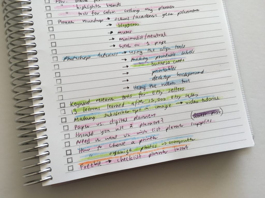 how to color code your planner using Zooms organized blog post idea tracking brain dumping use empty notebook use empty notes pages in my planner
