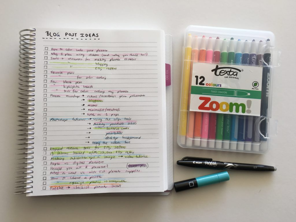 how to color code your planner using zooms cheaper alternative to highlighters blog post ideas organization how to use empty planner pages notebooks-min