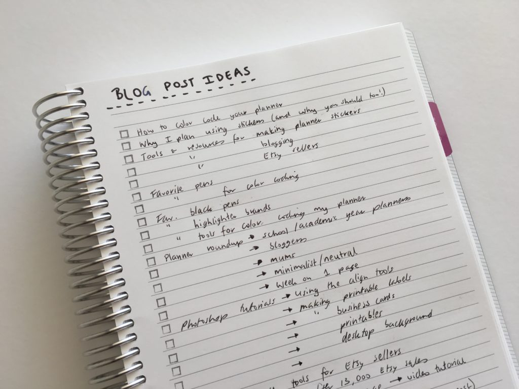 how to keep track of blog post ideas using empty notebooks blank pages of your planner color code organized brain dumping