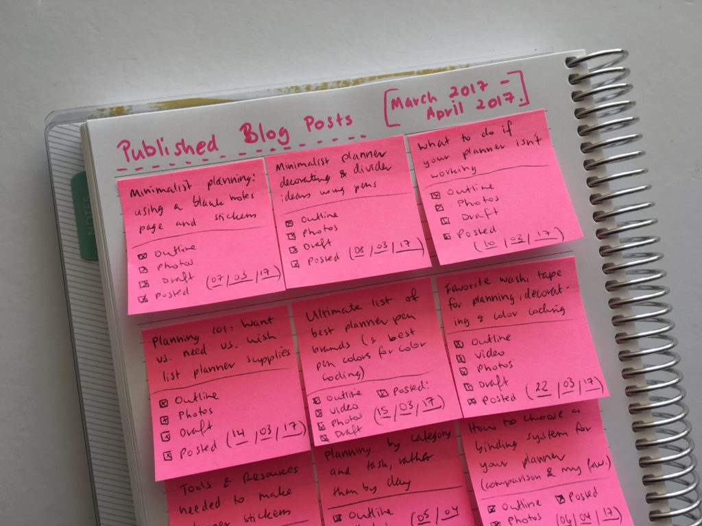 how to keep track of blog post ideas using sticky note workflow tracker blogging content calendar editorial using an empty notebook keeping track of ideas inspiration