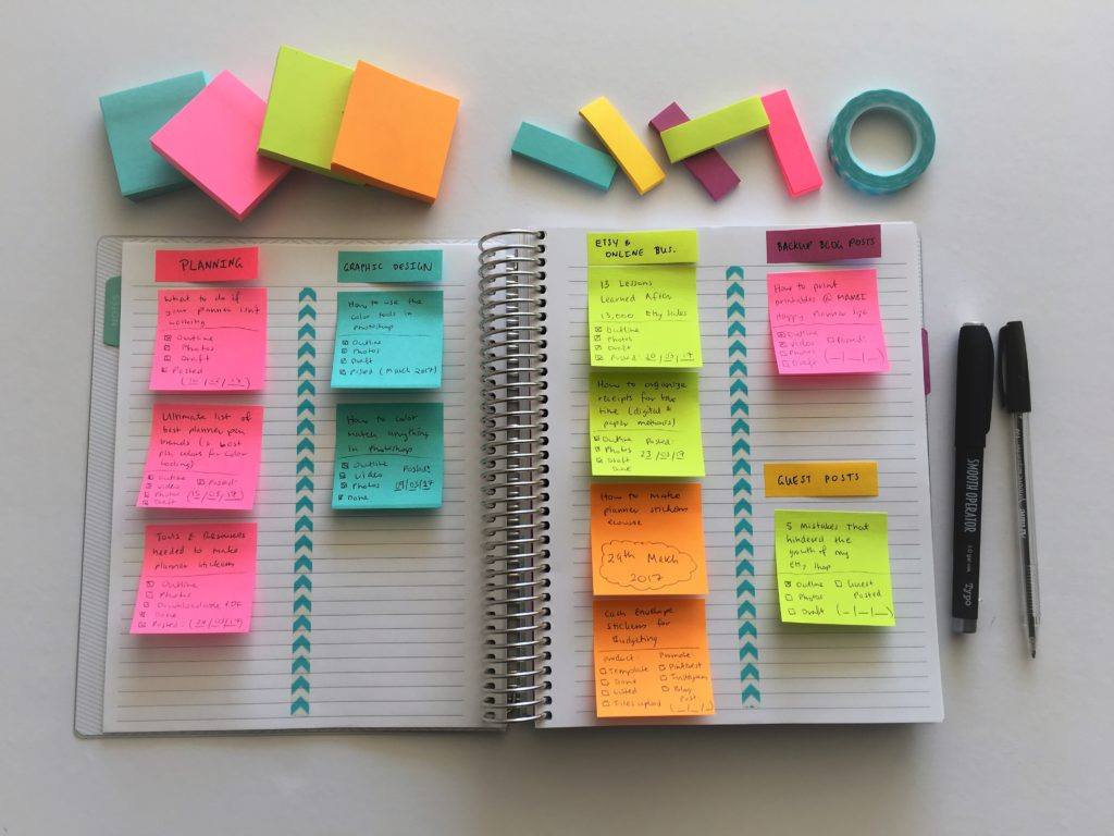 how to keep track of blog post ideas using sticky notes and an empty notebook planning editorial content calendar color coding inspiration ideas diy