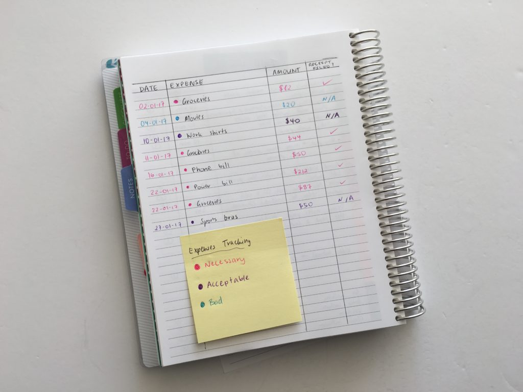 how to keep track of expenses in your planner decorating minimalist inspiration ideas sticky note color coding use blank pages