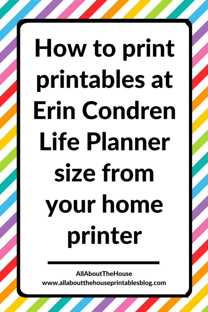 how to print printables at erin condren ec planner size from your home printer tutorial for resize printables insert refill diy