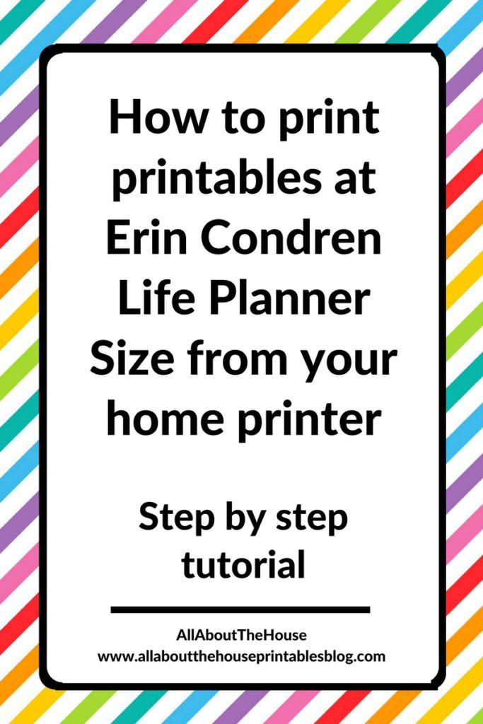 how to resize printables to erin condren planner size diy planner insert refill tutorial change page size printer menu settings
