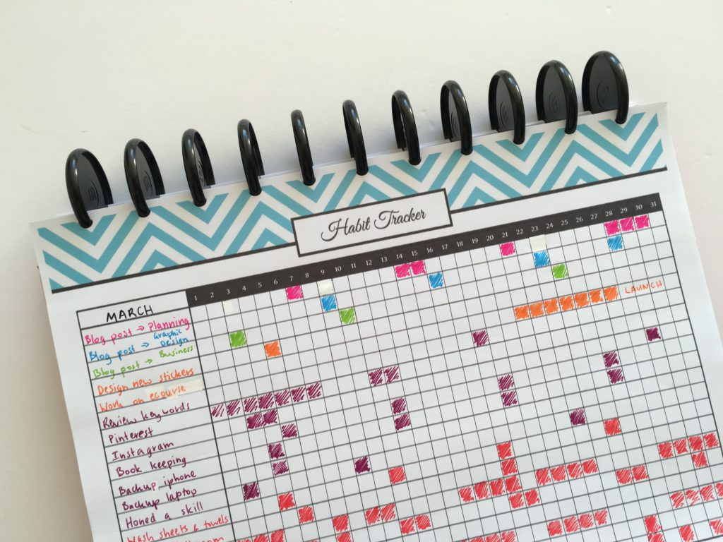 how to use blank pages of your notebook empty planner habit tracker routine checklist free printable color coded organizer month-min