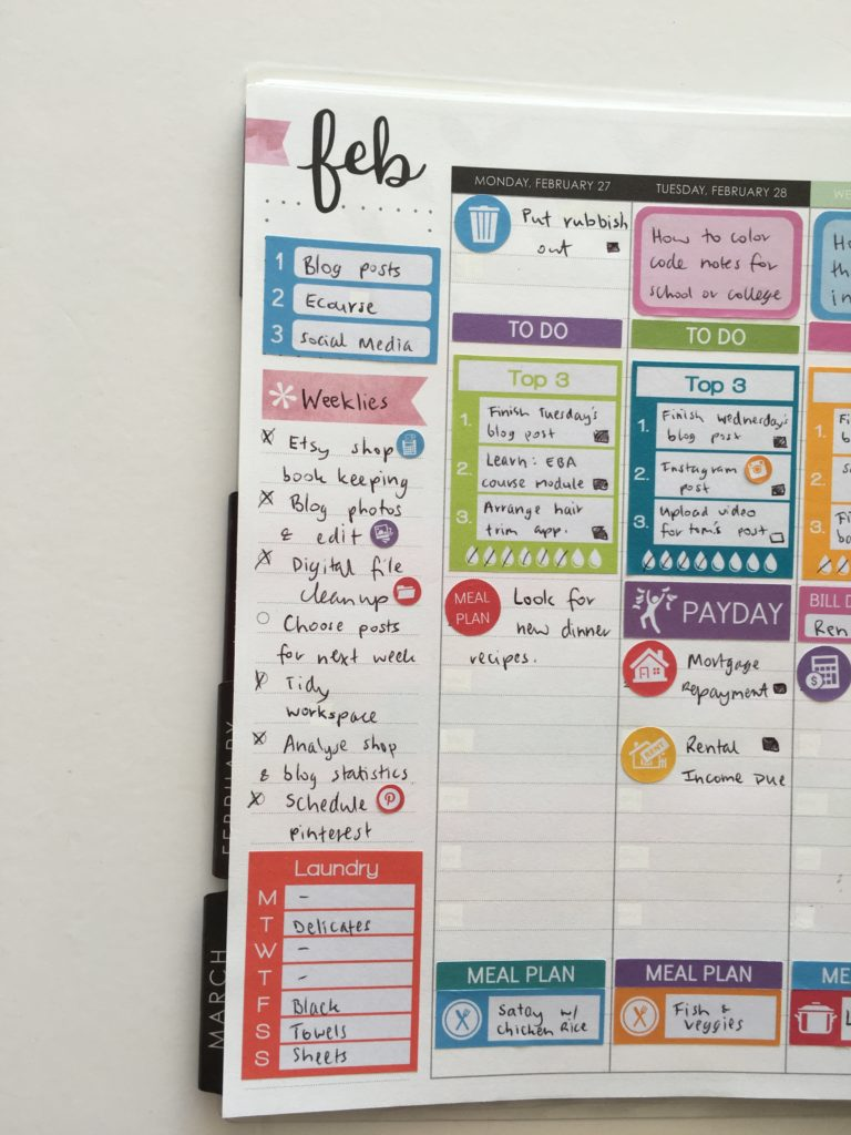 how to use the sidebar of your weekly planner spread plan with me rainbow stickers erin condren hourly life planer review-min
