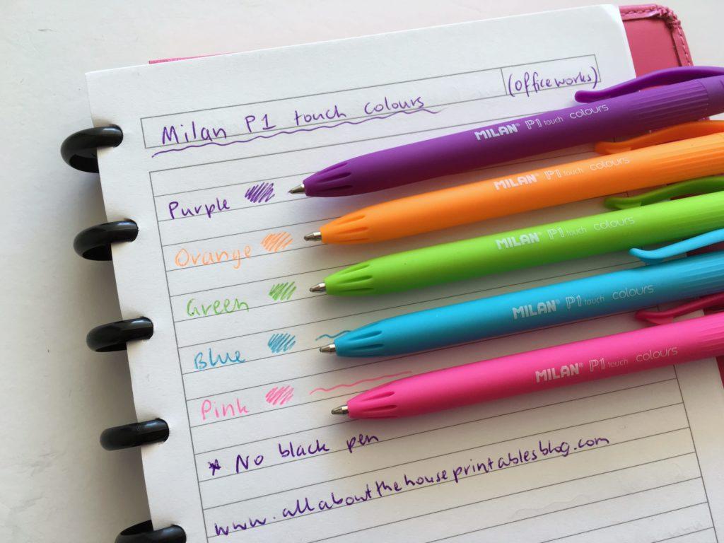 pen testing milan rainbow pen plum paper limelife happy planner pen erin condren ghosting no bleed color coding ballpoint gel cheap planning time hack diy
