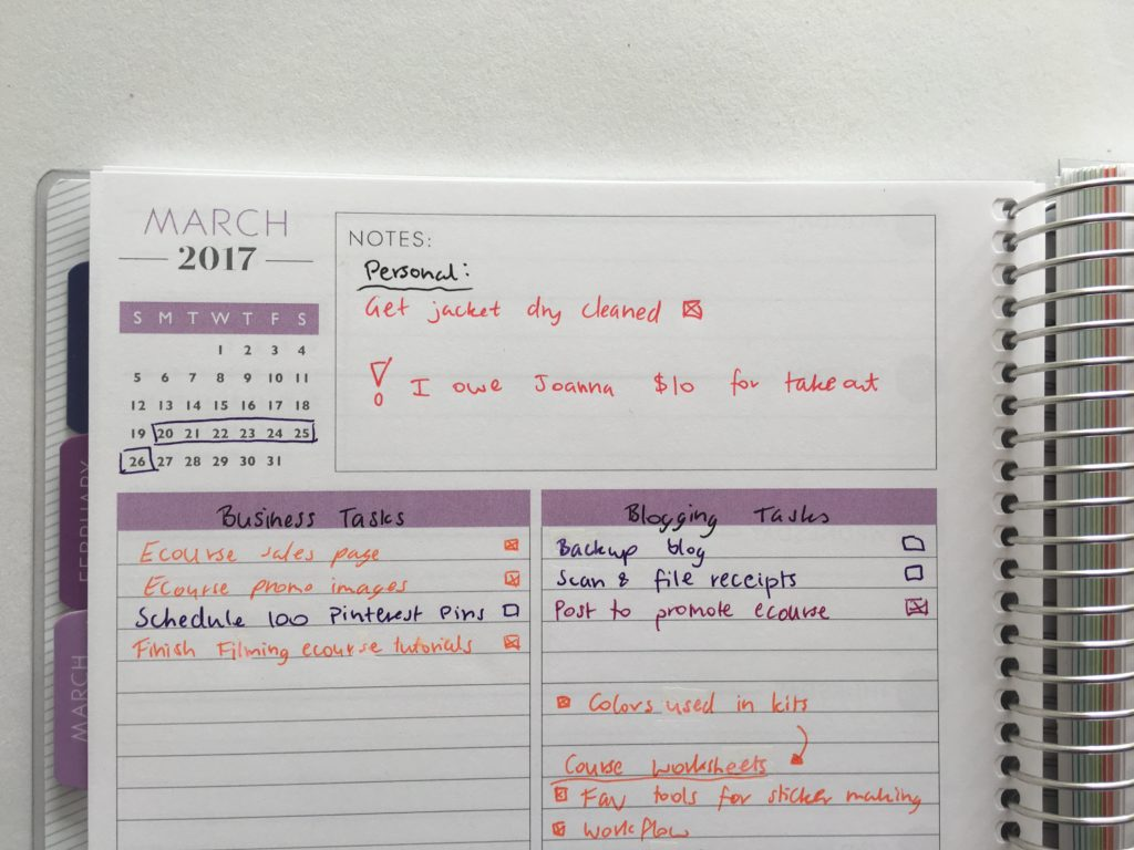 plum paper horizontal lined notes planner review how to color code your planner minimalist planning weekly spread-min