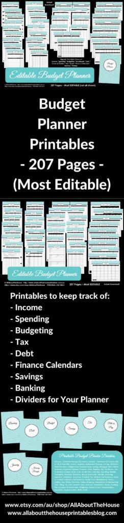 printable budget planner binder kit household binder income savings budget editable expenses log tracker planner insert refill