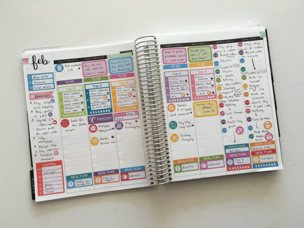 review of erin condren vertical life planner hourly layout weekly spread plan with me rainbow color coded productivity organization effectively plan