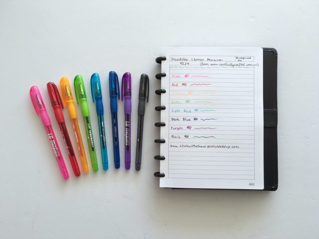 staedtler pen testing maxum gel erin condren plum paper limelife happy planner no bleed ghosting planner accessories diy