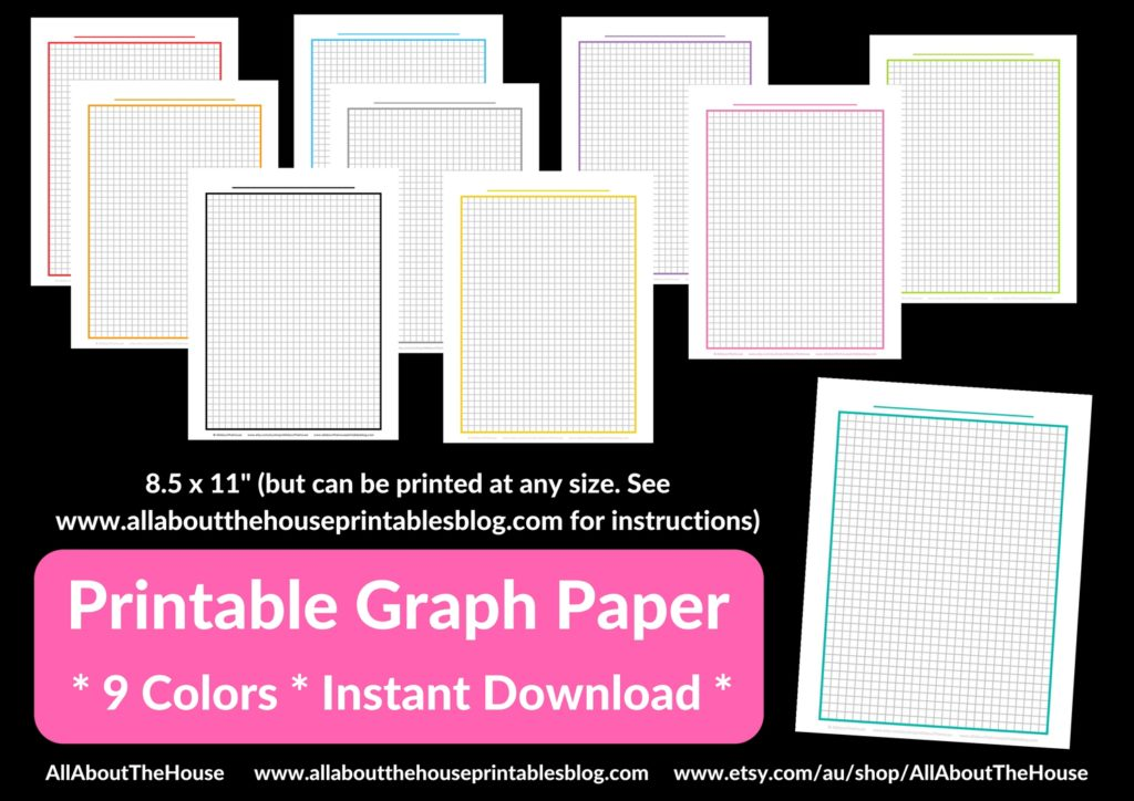 Printable Graph Paper color coded a5 travellers notebook insert diy half letter size a4 habit tracker weekly planner printable