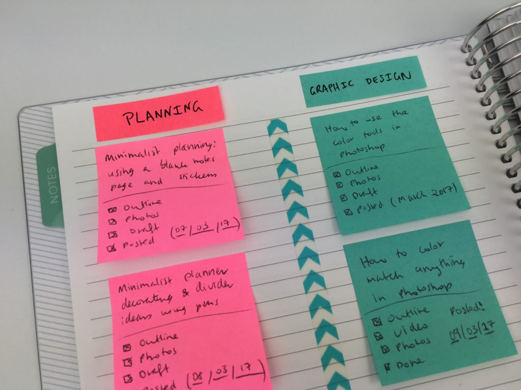blog post planning using sticky notes how to keep track of blog post ideas vlog video content calendar editorial color coded