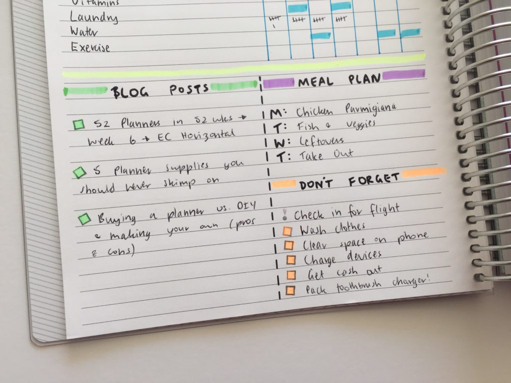 bullet journal ideas inspiration creative color coding using highlighters for planning simple planner spread minimal plum paper diy planner inspiration