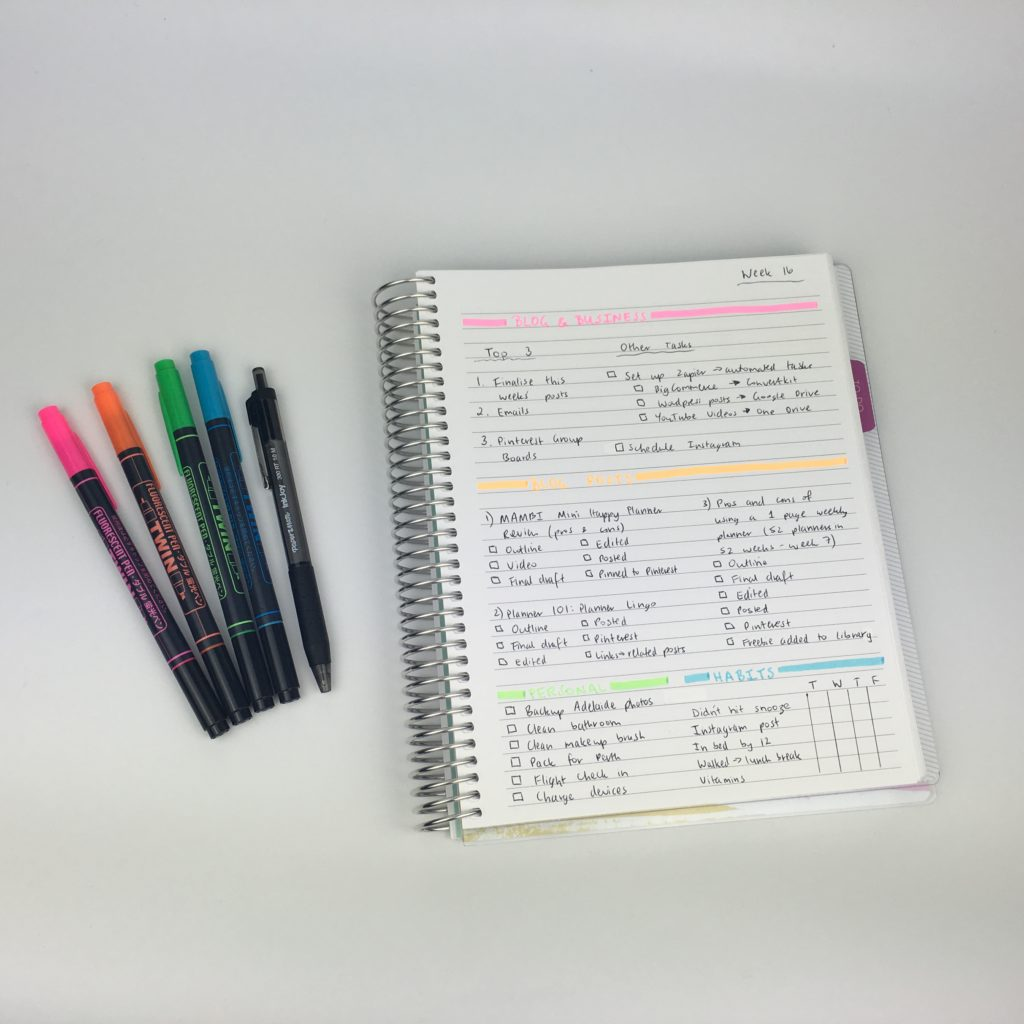 bullet journal ideas planner inspiration categorised checklist weekly routine color coding blog planner task list color coded highlighters simple weekly planner