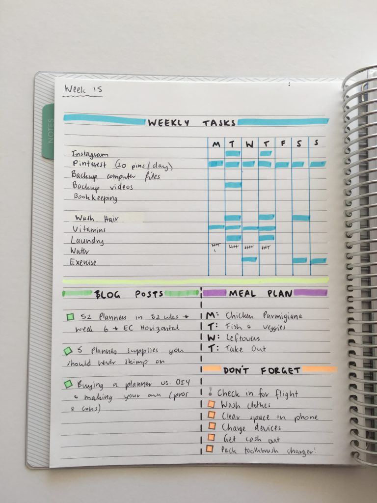 bullet journal ideas planner spread inspiration ideas simple weekly planner plan with me functional stickers color coding travel vacation