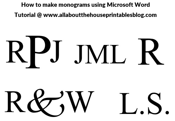 how to make a monogram using microsoft word 3 letter 2 letter 1 letter initial order wedding gift diy printable personalised