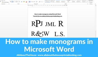 How to make a 1, 2 or 3 letter monogram in Microsoft Word (video tutorial)