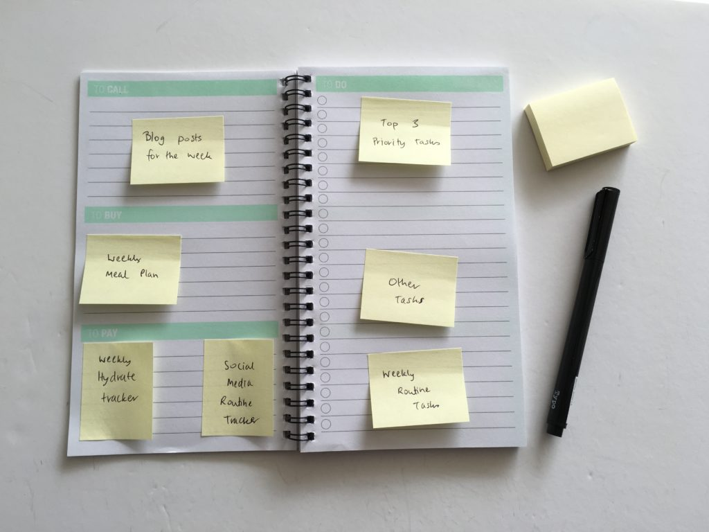 how to pre-plan your week using sticky notes planning 101 weekly planner spread plan with me