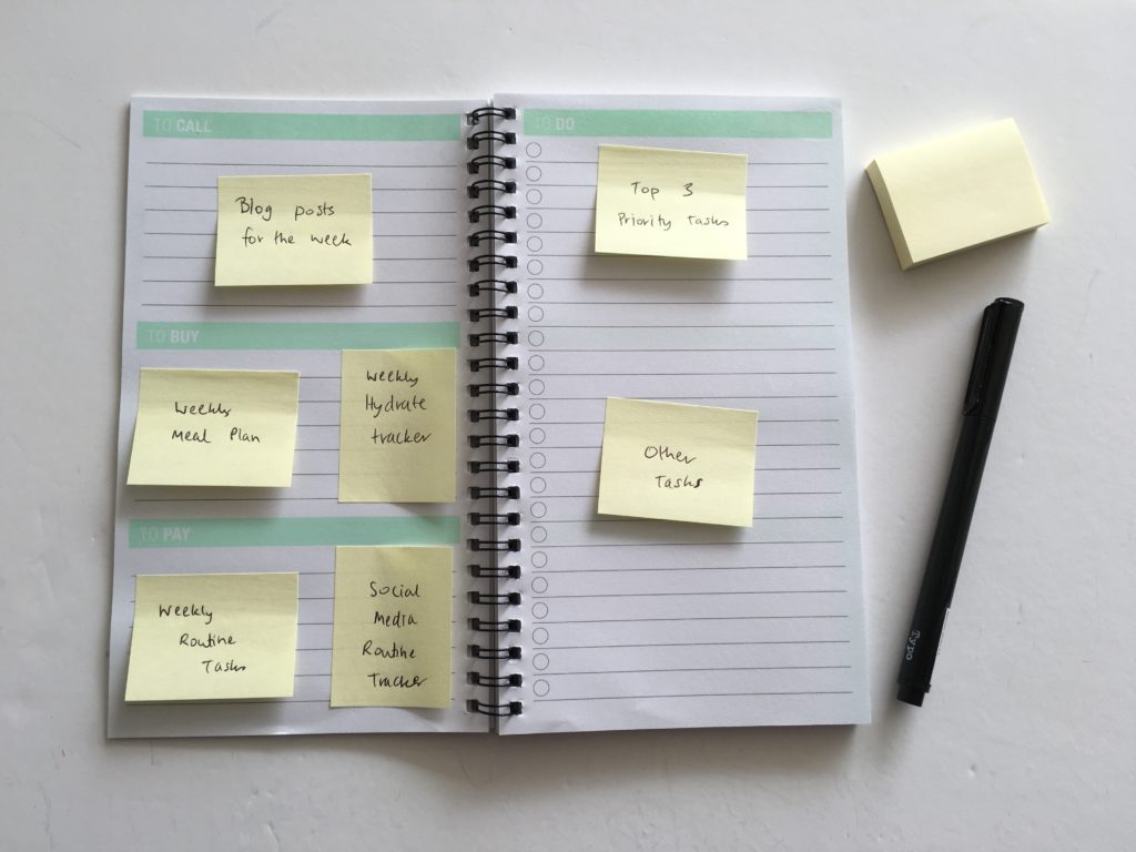 how to use a new planner pre plan your week using sticky notes effective planning methods simply minimalist color coding planning