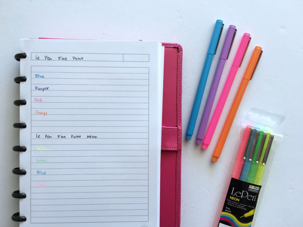 le pen testing planner pen fine tip erin condren no bleed ghosting limelife happy planner day designer ballpoint versus gel pens rainbow color coding