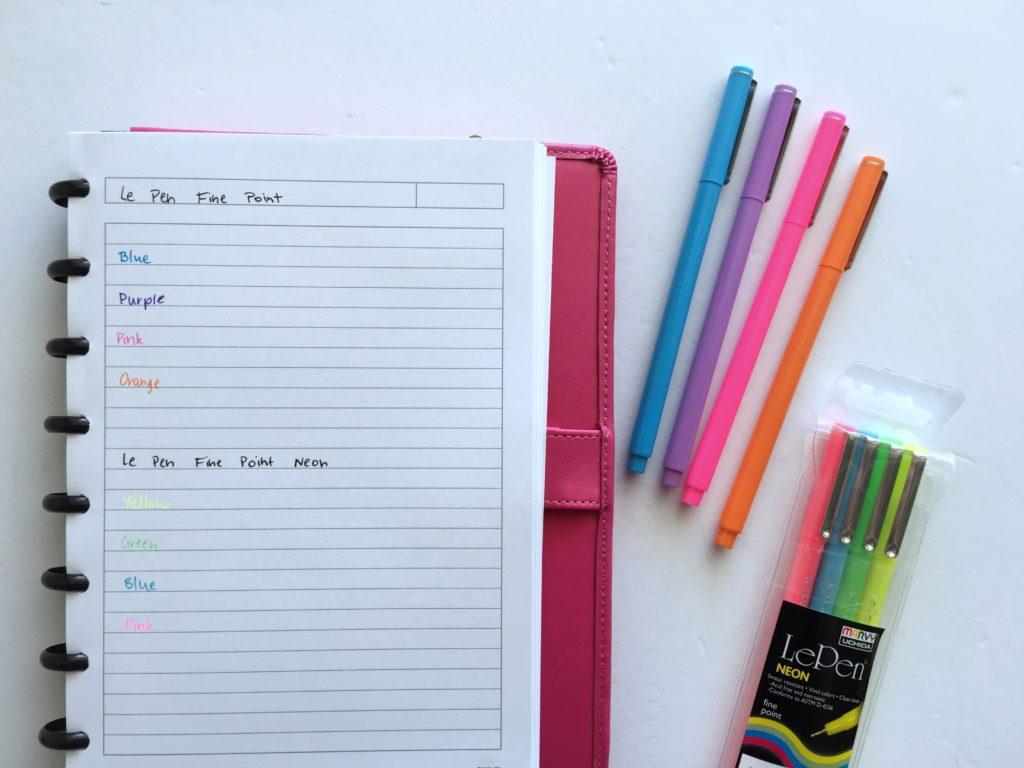 le pen testing planner pen fine tip erin condren no bleed ghosting limelife happy planner day designer ballpoint versus gel pens rainbow color coding