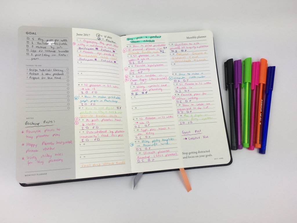 mi goals planner review monthly blog post planning color coding a5 australia planner content calendar editorial blog planners
