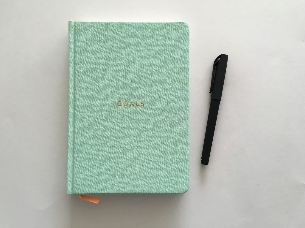 mi goals planner review simple minimalist week on 1 page monday start notebook goal setting productivity black and white simple weekly spread australia-min