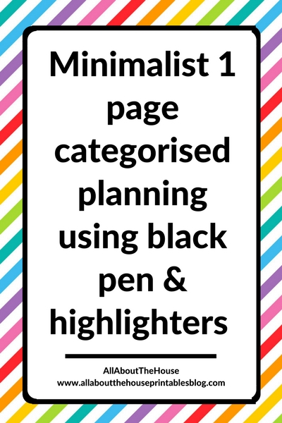 minimalist 1 page weekly spread bullet journal ideas inspiration plan with me simple black pen highlighter