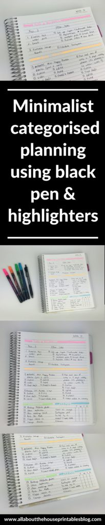 minimalist planning using black pen highlighter simple weekly spread bullet journal bujo inspiration ideas plan with me highligh