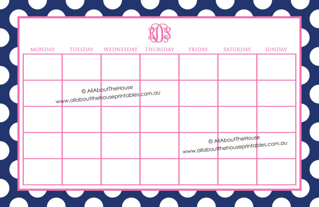 monogram calendar printable editable polka dot desktop notepad mouse pad how to make a monogram personalised stationery