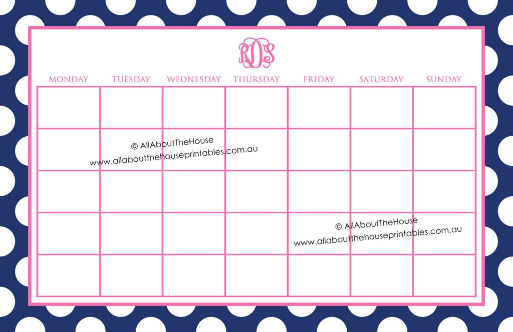 monogram calendar printable editable polka dot desktop notepad mouse pad how to make a monogram personalised stationery