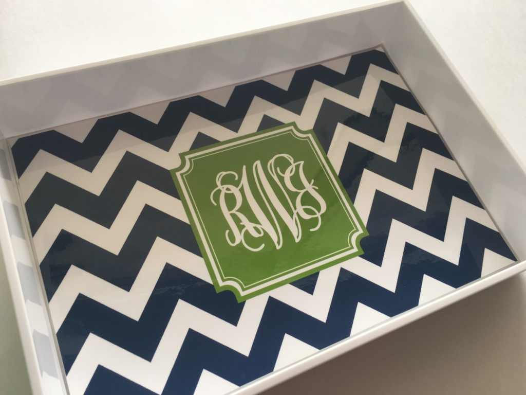 monogram lucite tray liner printable tutorial personalised stationery desk accessory preppy chevron how to make a monogram diy