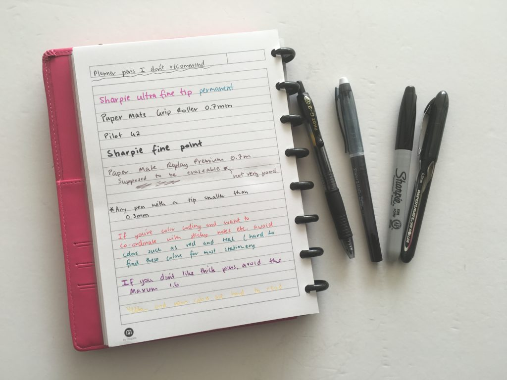 planner pens i don't recommend prone to smudging bleed through inky feather uniball pen review papermate erasable fine tip erin condren plum paper happy planner