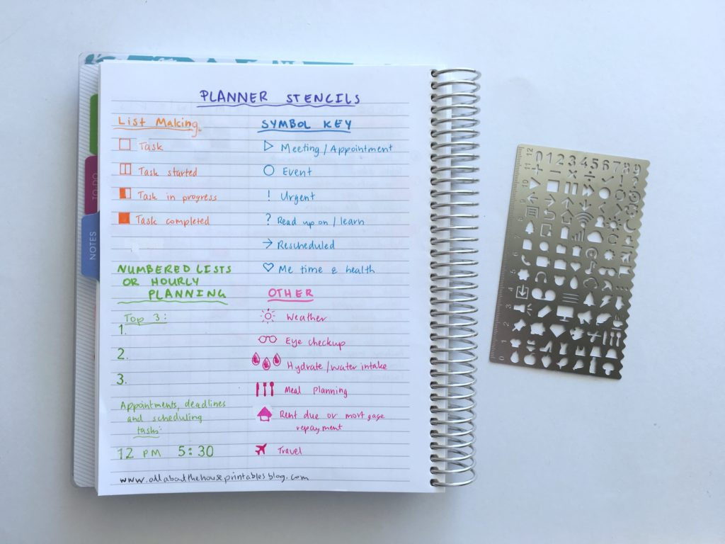 planner stencil using codes to plan your day minimalist planning color coding bullet journaling simple weekly spread plan with me essential planner supplies-min