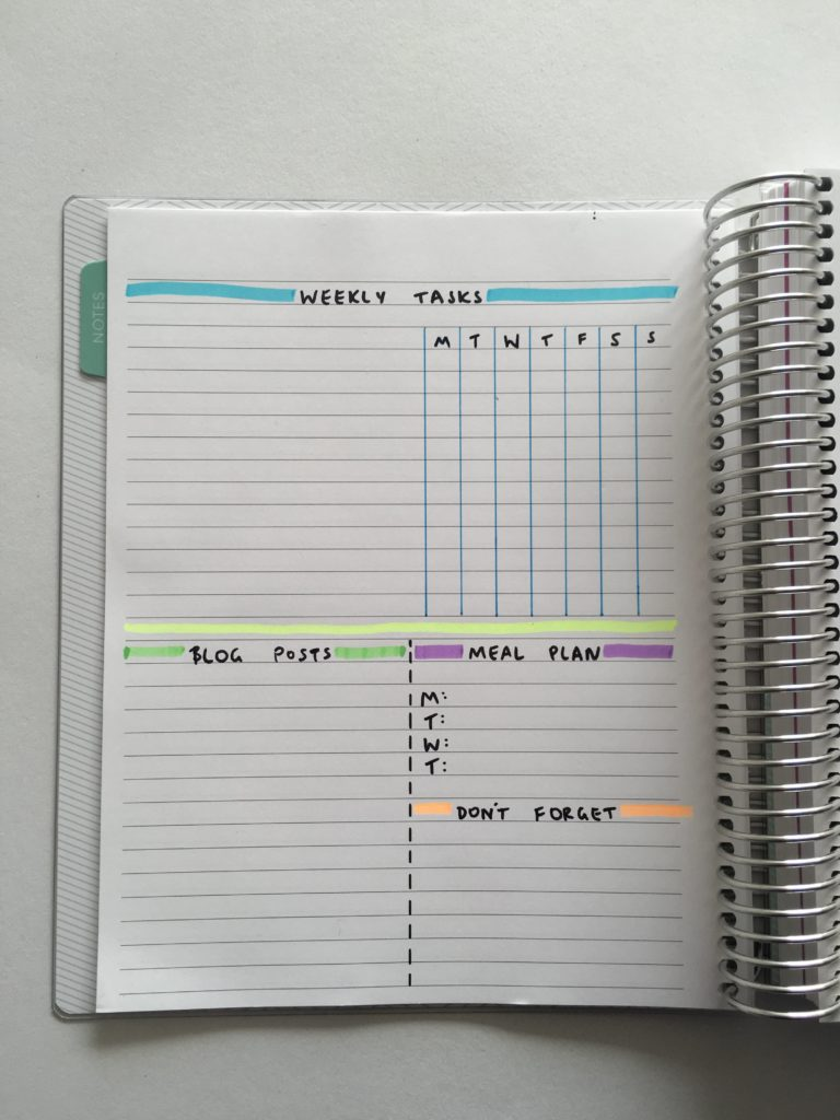 setting up a weekly bullet journal spread planning with highlighters color coding simple minimal diy planner inspiration ideas
