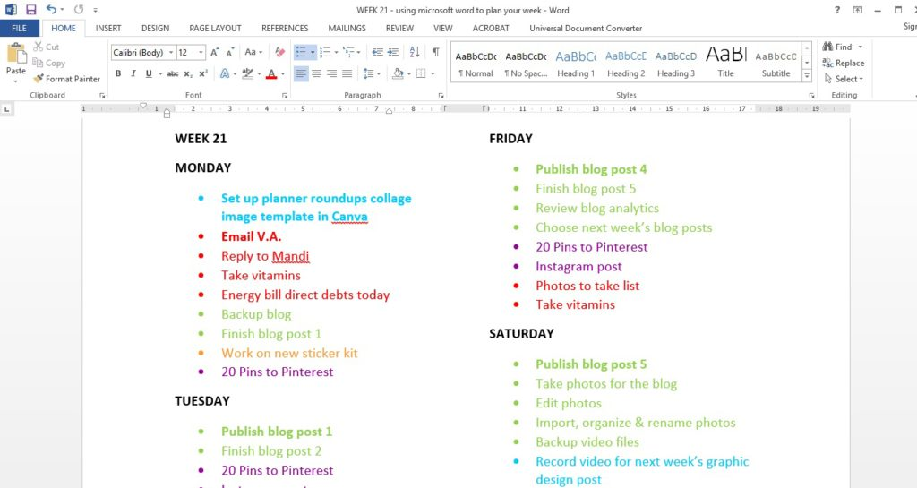 alternatives to a paper planner digital planning tools apps productivity time management microsoft word color coding tips inspiration
