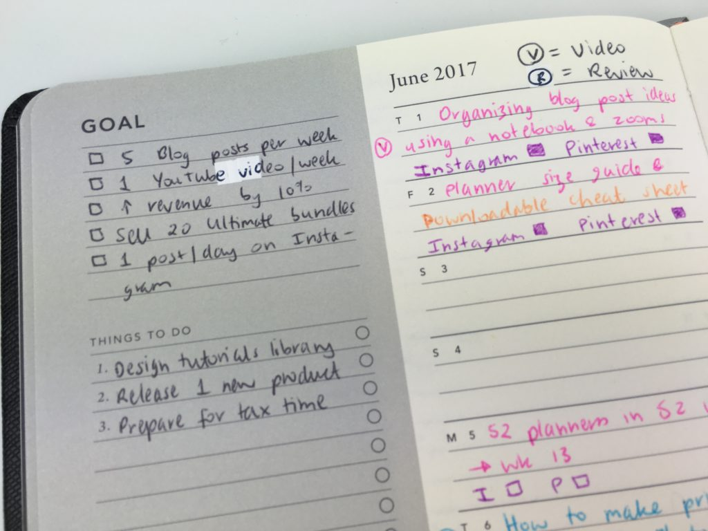 best planners for blogging mi goals planner review haul color coding blog post content calendar strategy how to decide what to blog about monthly planning spread