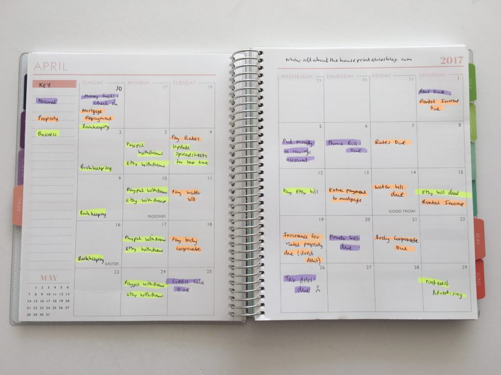 color coding bill paying using monthly calendar and highlighters budgeting method simple quick planning tips planner ideas hack