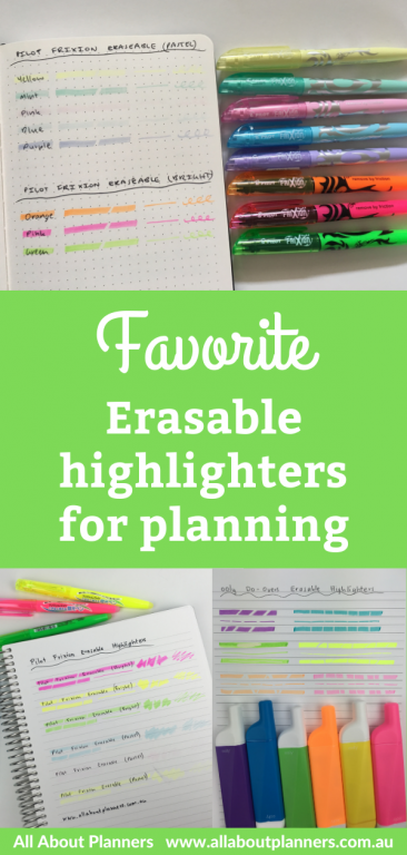 favorite erasable highlighters for planning and bullet journal frixion erasable ooly recommended all about planners